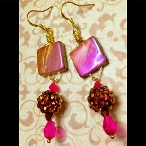 Rose Bronze Glass Square Shambala Bead Earrings